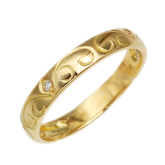 K18 ダイヤモンド 計0.03ct 甲丸リング 指輪 /送料無料