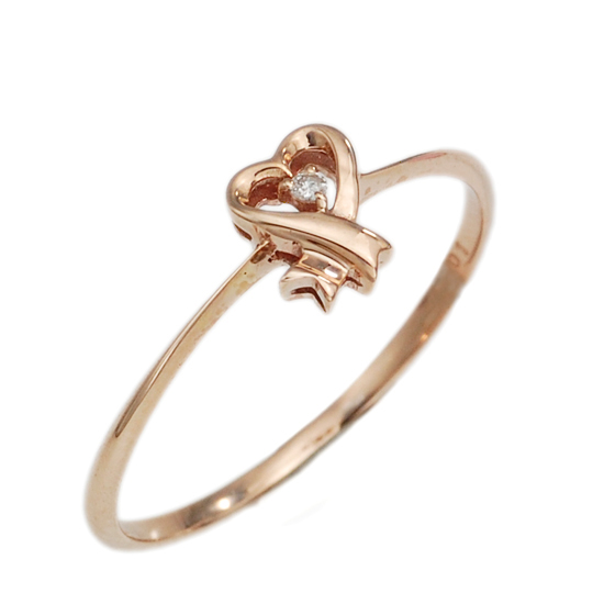 K10PG ダイヤモンド 計0.01ct ハート リボン リング 指輪 /送料無料