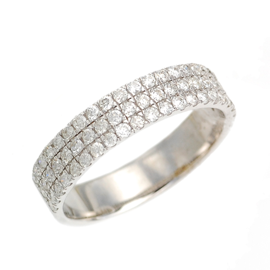 K18WG ダイヤモンド計0.60ct パヴェ ダイヤモンド リング/送料無料