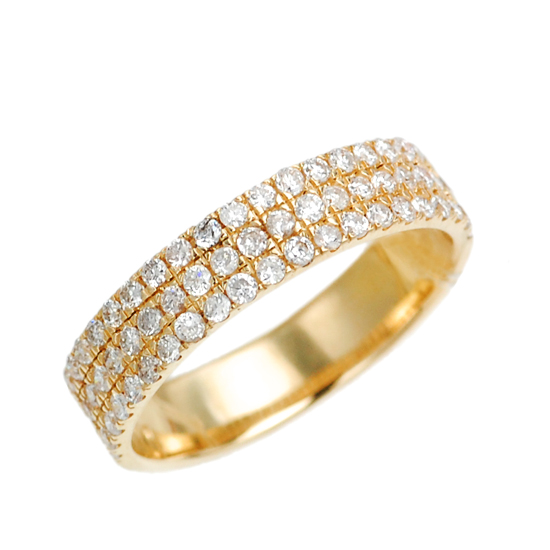 K18PG ダイヤモンド計0.60ct パヴェ ダイヤモンド リング/送料無料
