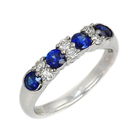 Pt900 プラチナ サファイア ダイヤモンド リング 指輪/送料無料