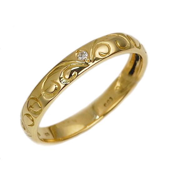 K18 イエローゴールド ダイヤモンド リング 指輪/送料無料