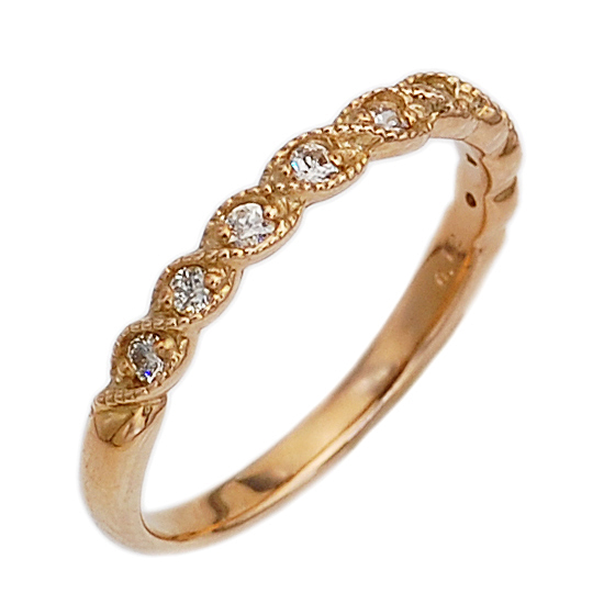 K18PG ダイヤモンド ピンクゴールド ピンキーリング 指輪/送料無料
