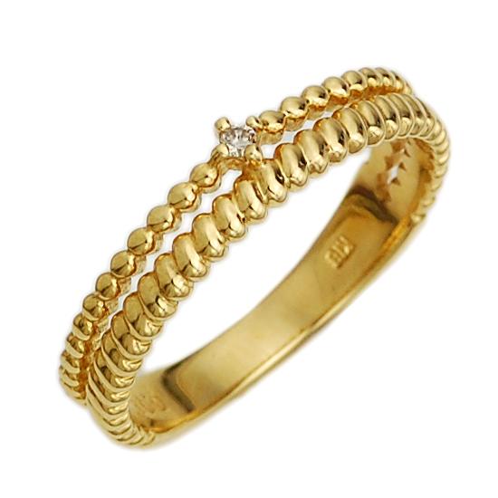 K18 ダイヤモンド ピンキーリング 指輪 イエローゴールド/送料無料
