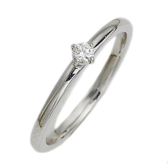 K18WG ダイヤモンド 0.05ct ソリティア ピンキーリング 指輪 一粒/送料無料