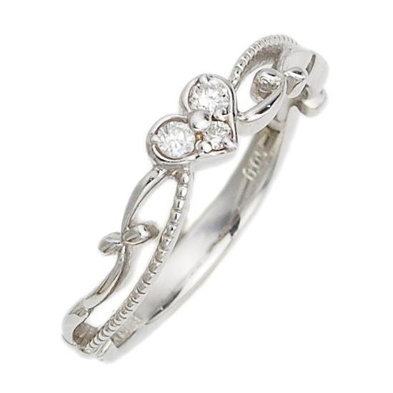 K18WG ハート ダイヤモンド ピンキーリング 指輪/送料無料
