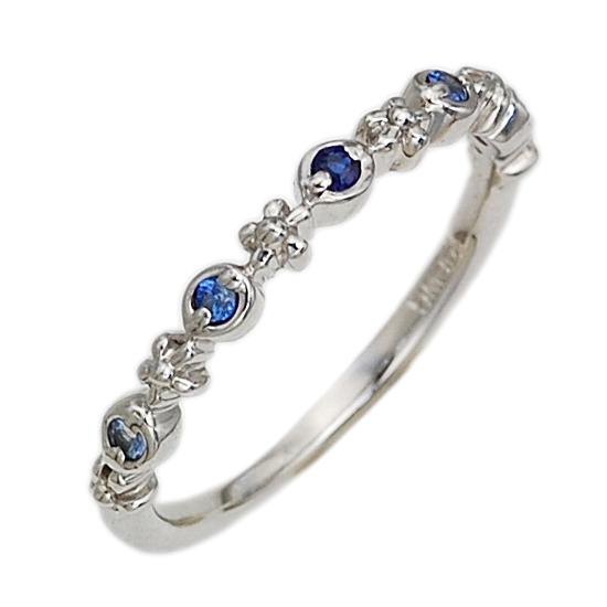 K10WG ブルーサファイア ピンキーリング 指輪/送料無料
