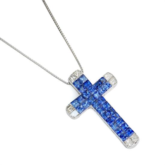 K18WG ダイヤモンド計0.30ct サファイア インビジブルセッティング クロスネックレス/送料無料