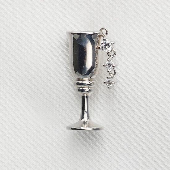 K18WG ダイヤモンド グラスモチーフ タイタック タイピン/送料無料