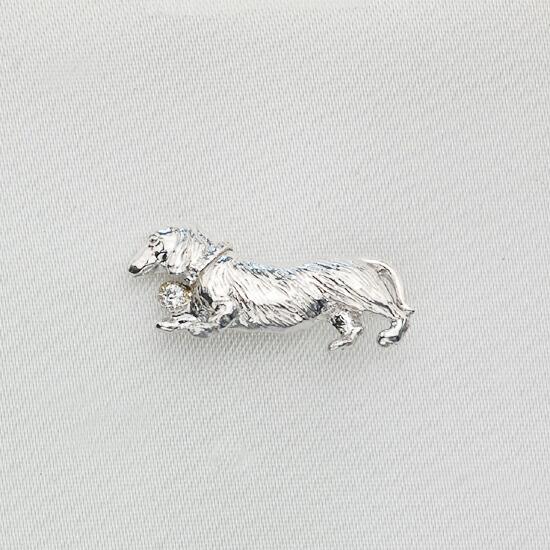 K18WG ダイヤモンド ダックスフンドモチーフ ラペルピン/送料無料