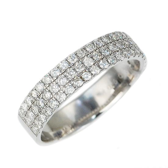 K18WG ダイヤモンド計0.60ct パヴェリング/送料無料