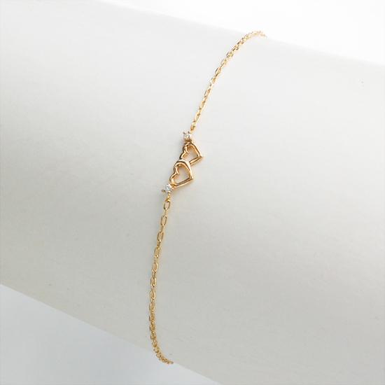 K10PG ハート ダイヤモンド ブレスレット/送料無料