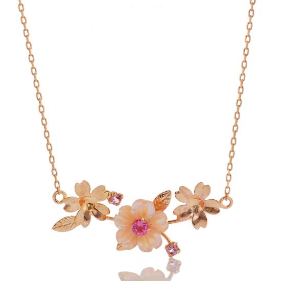 ピンクシェルとピンクトルマリンで桜をかたどったネックレス K10PG 超人気 ピンクシェル ピンクトルマリン ネックレス ロードライトガーネット 送料無料 賜物 桜
