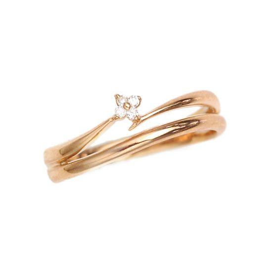 K18PG ピンクゴールド ダイヤモンド ピンキーリング/送料無料