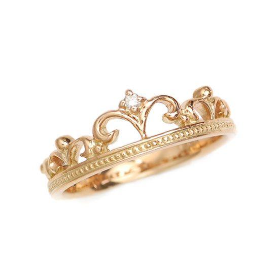 K18PG ピンクゴールド ダイヤモンド クラウン 王冠 ピンキーリング/送料無料