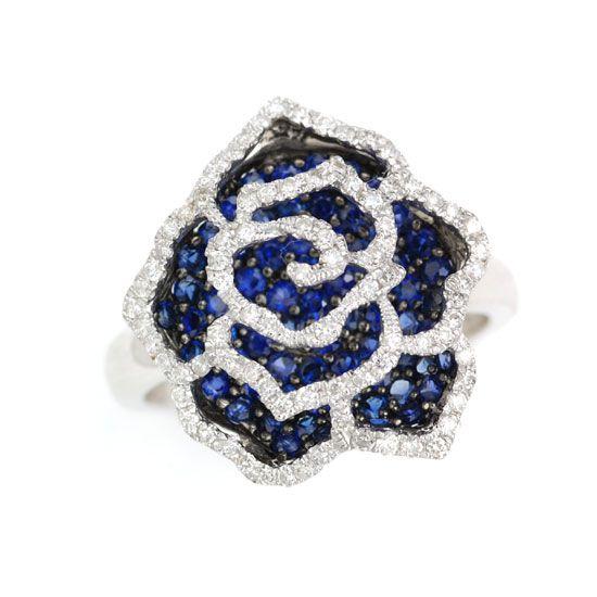 K18WGサファイア&ダイヤモンド薔薇 バラ リング/送料無料
