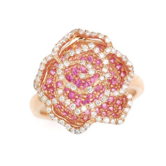 K18PGピンクサファイア&ダイヤモンド薔薇 バラ リング/送料無料