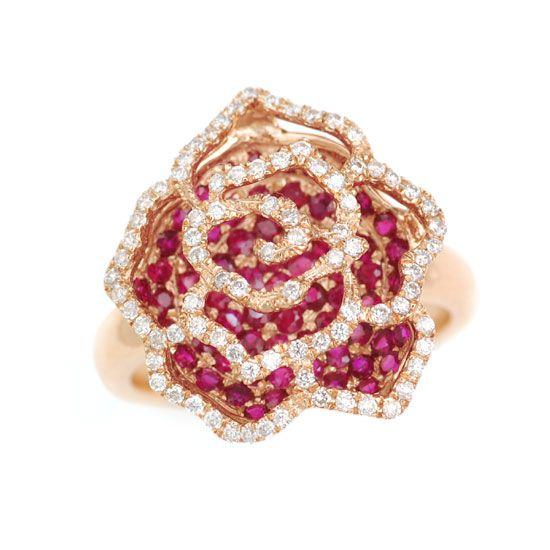 K18PGルビー&ダイヤモンド薔薇 バラ リング/送料無料