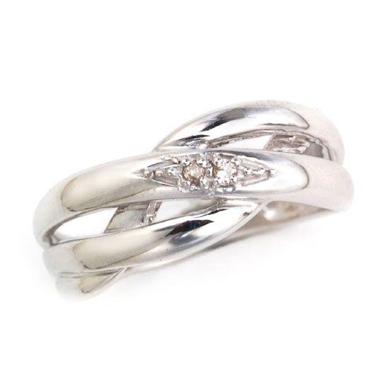 K18WGダイヤモンド2連ウェーブピンキーリング/送料無料