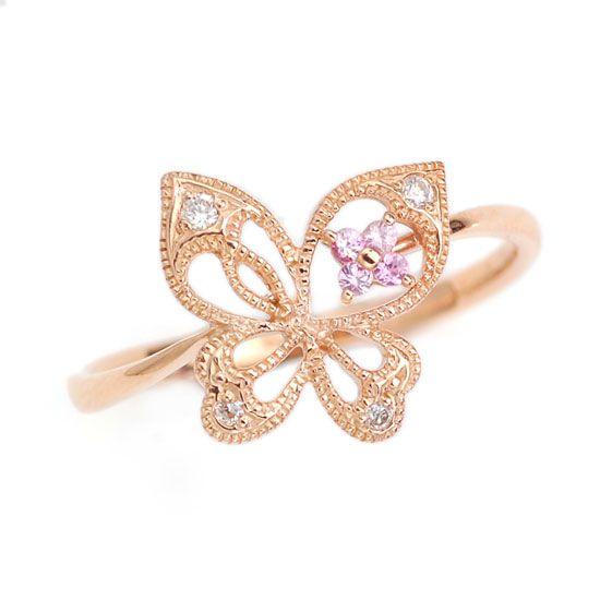 ピンクサファイア ダイヤモンド バタフライ 蝶々 ピンクゴールドリング /送料無料