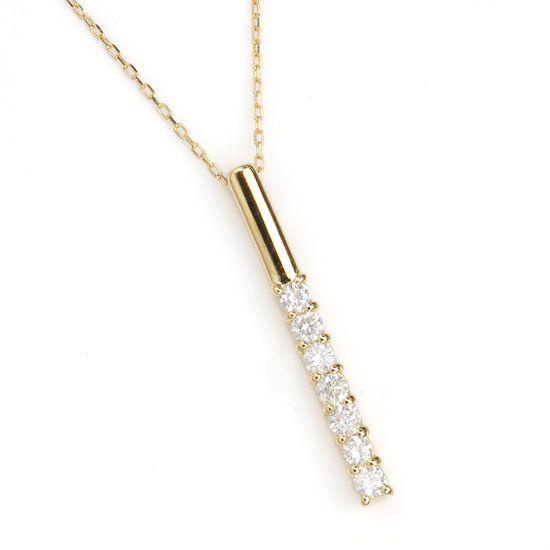 K18ダイヤモンド計0.20ctラインネックレス/送料無料