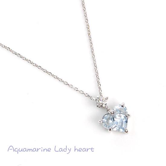 K10WG ダイヤモンド×アクアマリンレディハートネックレス/送料無料