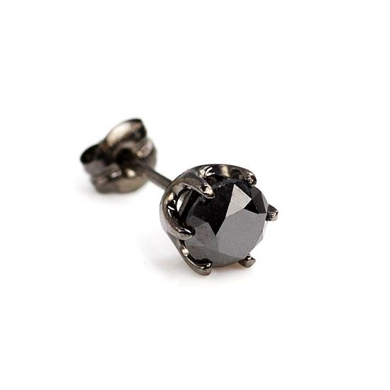K18WG ブラックダイヤモンド0.50ct 片耳ピアス ブラックメッキ /送料無料