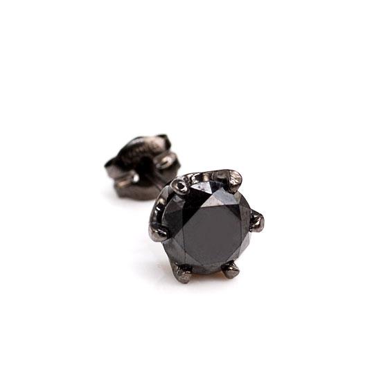 K18WG ブラックダイヤモンド0.70ct 片耳ピアス ブラックメッキ /送料無料