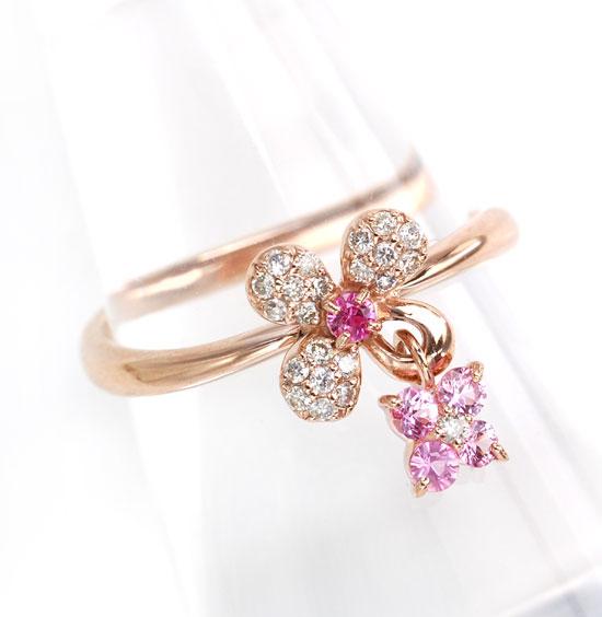 K18PG ピンクサファイア ダイヤモンド フラワー&フラワーチャーム ピンクゴールド リング/送料無料