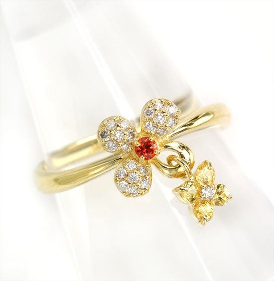 K18 イエローサファイア ダイヤモンド フラワー&フラワーチャームリング/送料無料