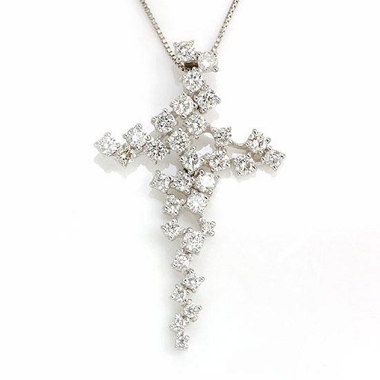 Pt900/850 ダイヤモンド計0.90ct プラチナクロスネックレス/送料無料