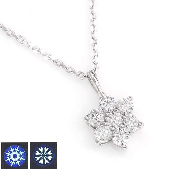 K18WG ダイヤモンド計0.20ct ハート&キューピッドフラワーネックレス/送料無料