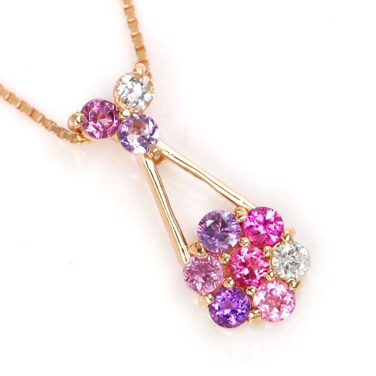 K10PG ダイヤモンド/カラーストーンマルチパヴェ花型ネックレス フローラルガーデン/送料無料
