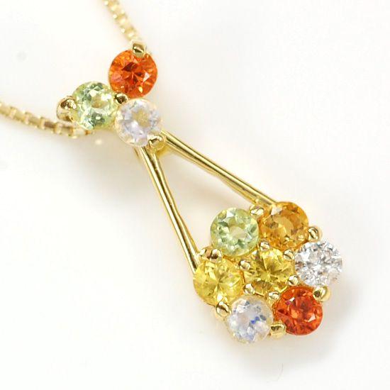K10 ダイヤモンド/カラーストーンマルチパヴェ花型ネックレス パッションフルーツ/送料無料