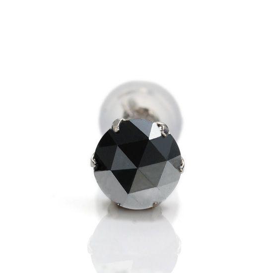 即納 片耳ピアス 大粒1.0ct Pt900ローズカットブラックダイヤモンド プラチナピアス/送料無料【あす楽対応】