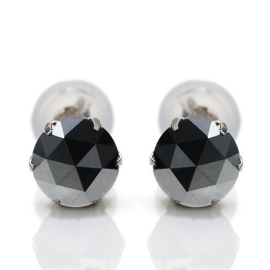 即納 計2.0ct Pt900 ローズカットブラックダイヤモンド プラチナピアス/送料無料【あす楽対応】