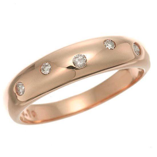 K18PG ピンクゴールド ダイヤモンドドット 水玉 甲丸リング 指輪 4月誕生石/送料無料