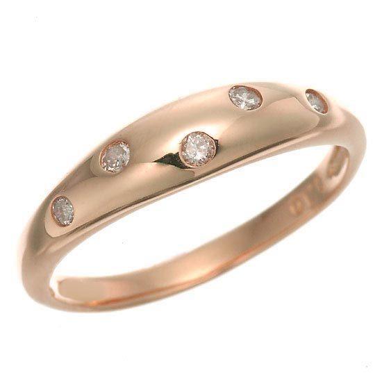 K18PG ピンクゴールド ダイヤモンドドット 水玉 中幅甲丸リング 指輪 4月誕生石/送料無料