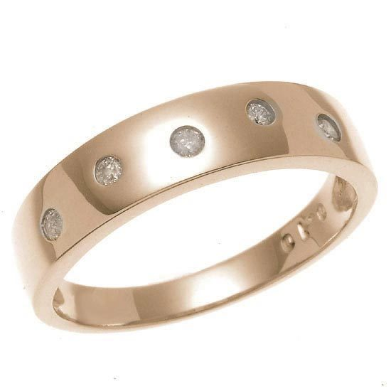 K18PG ピンクゴールド ダイヤモンドドット 水玉 平打リング 指輪 4月誕生石/送料無料