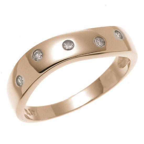 K18PG ピンクゴールド ダイヤモンドドット 水玉 平打ウエーブリング 指輪 4月誕生石/送料無料