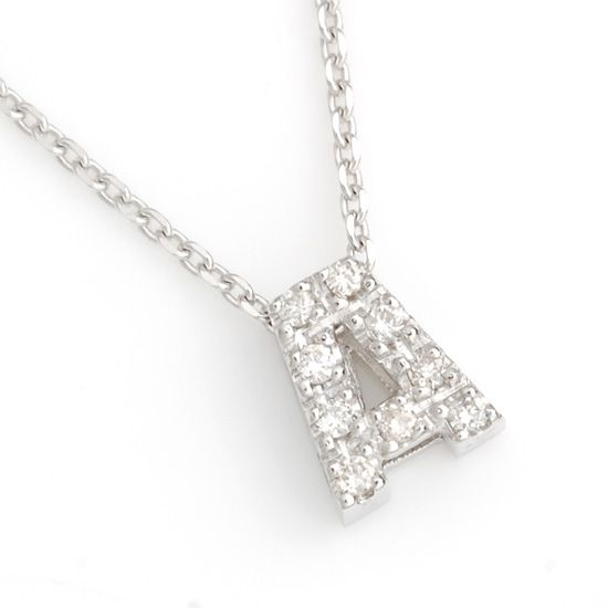 K10WG ダイヤモンドイニシャル アルファベット ネックレス A 201007A/送料無料