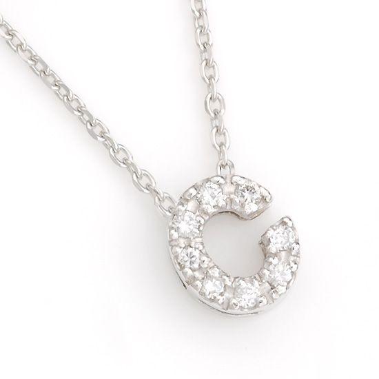 K10WG ダイヤモンドイニシャル アルファベット ネックレス C201007C/送料無料