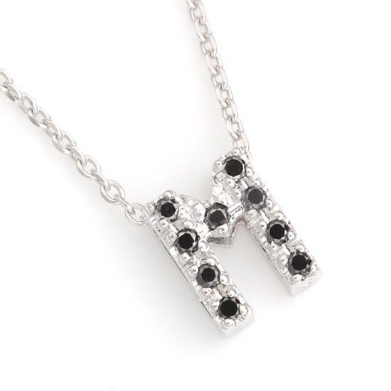 K10WG ブラックダイヤモンドイニシャル アルファベット ネックレス M201007M/送料無料