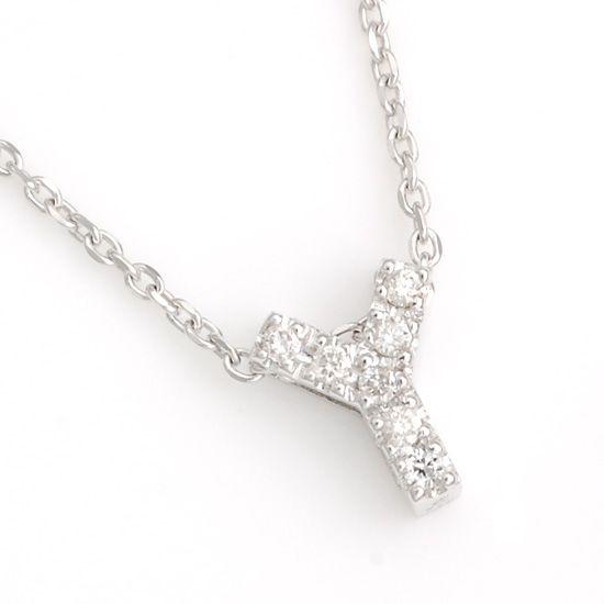 K10WG ダイヤモンドイニシャル アルファベット ネックレス Y201007Y/送料無料