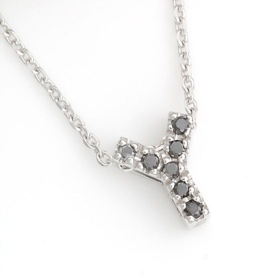 K10WG ブラックダイヤモンドイニシャル アルファベット ネックレス Y201007Y/送料無料