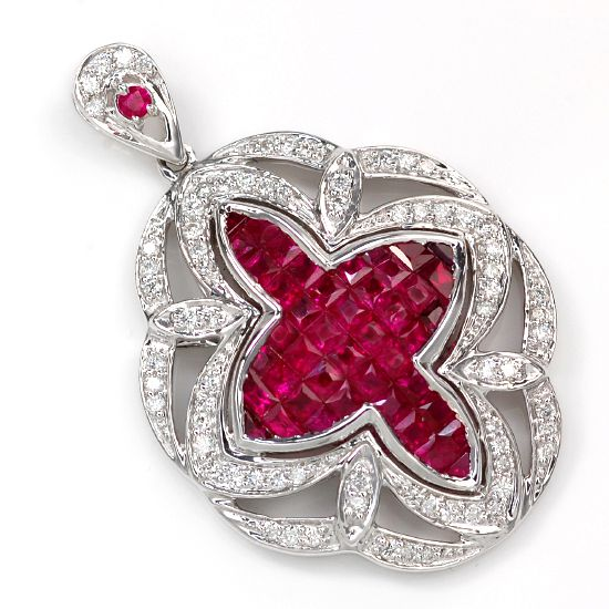 K18WG / Ruby diamond invisible setting pendant