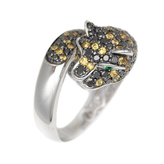 K18WG ブラックダイヤモンド計1.00ct イエローサファイア グリーンガーネット ツァボライト 豹リング/送料無料