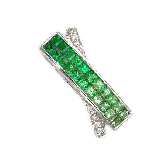 K18WG ダイヤモンド計0.04ct グリーンガーネット計1.15ct ペンダントトップ/送料無料
