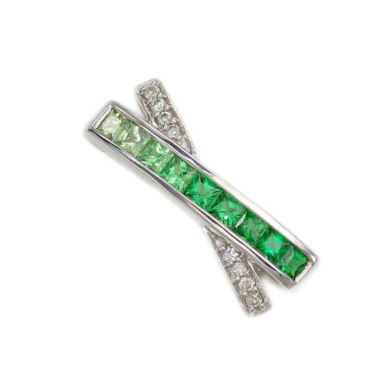 K18WG ダイヤモンド計0.05ct グリーンガーネット計0.55ct ペンダントトップ/送料無料