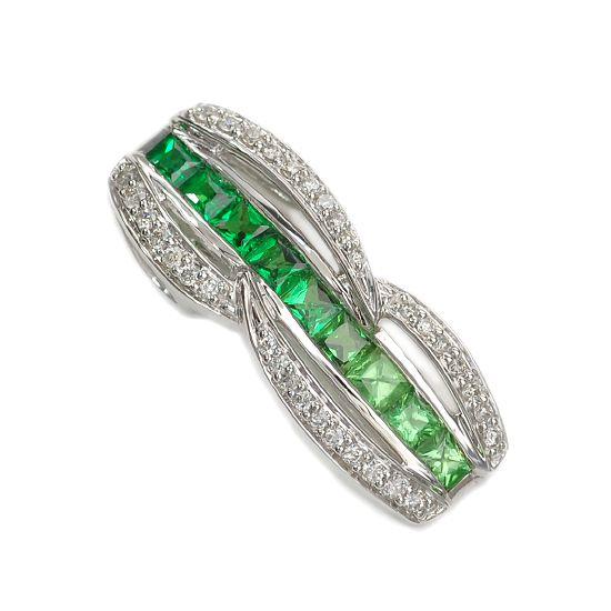 K18WG ダイヤモンド計0.20ct グリーンガーネット計1.15ct ペンダントトップ/送料無料